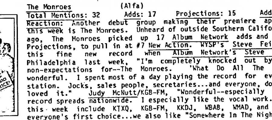 MONROE33 played it for secretaries