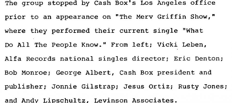 the Monroes caption visiting Cash Box