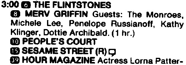 the monroes tv guide listing with merv griffin